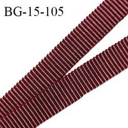 Galon ruban 15 mm gros grain 100% coton couleur gris et rouge largeur 15 mm prix au mètre