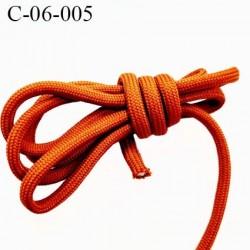 Cordon ou Lacet rond 6 mm synthétique couleur orange foncé très solide fabriqué Europe diamètre 6 mm prix au mètre