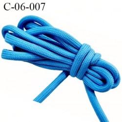 Cordon ou Lacet rond 6 mm synthétique couleur bleu lumineux très solide fabriqué Europe diamètre 6 mm prix au mètre