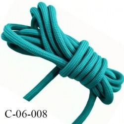 Cordon ou Lacet rond 6 mm synthétique couleur vert lumineux très solide fabriqué Europe diamètre 6 mm prix au mètre