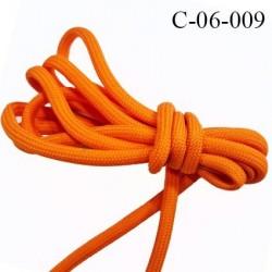 Cordon ou Lacet rond 6 mm synthétique couleur orange lumineux très solide fabriqué Europe diamètre 6 mm prix au mètre