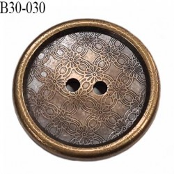 Bouton 30 mm en  métal et pvc couleur laiton vieilli 2 trous diamètre 30 mm épaisseur 4.2 mm prix à la pièce