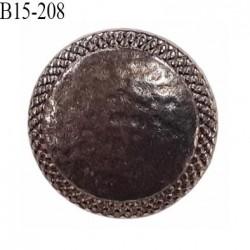 Bouton 15 mm métal  couleur acier vieilli style martelé ancien accroche avec un anneau au dos prix à la pièce