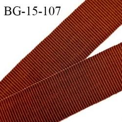 Galon ruban 15 mm gros grain 100% coton couleur rouille largeur 15 mm prix au mètre