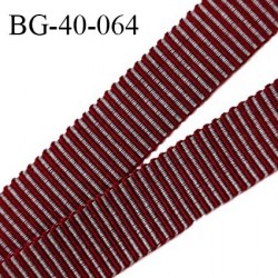Galon ruban 40 mm gros grain 100% coton couleur gris et rouge largeur 40 mm prix au mètre
