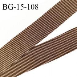 Galon ruban 15 mm gros grain 100% coton couleur marron et beige largeur 15 mm prix au mètre