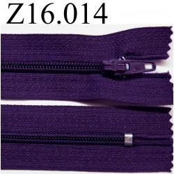 fermeture éclair longueur 16 cm couleur violet foncé non séparable zip nylon largeur 2.5 cm