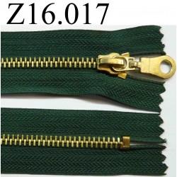 fermeture éclair verte longueur 16 cm couleur vert non séparable zip métal largeur 3.2 cm