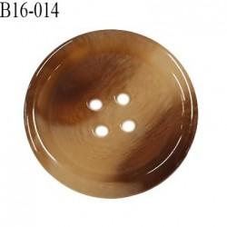 Bouton 16 mm en pvc très haut de gamme style corne couleur beige et marron 4 trous diamètre 16 mm épaisseur 3 mm prix à l'unité
