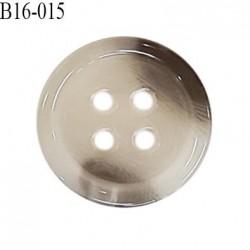 Bouton 16 mm en pvc très haut de gamme style corne couleur gris 4 trous diamètre 16 mm épaisseur 3 mm prix à l'unité