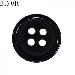 Bouton 16 mm en pvc très haut de gamme couleur noir 4 trous diamètre 16 mm épaisseur 3 mm prix à l'unité