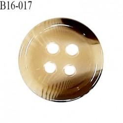 Bouton 16 mm en pvc très haut de gamme style corne couleur beige et gris 4 trous diamètre 16 mm épaisseur 3 mm prix à l'unité