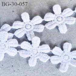 Galon ruban guipure motif fleur marguerite conton et synthétique double face couleur blanc superbe diamètre 27 mm prix au mètre