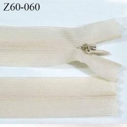 Fermeture zip glissière invisible crème longueur 60 cm largeur 2.5 cm couleur crème écru non séparable largeur de glissière 4 mm