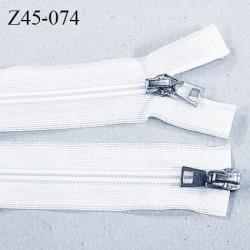 Fermeture 60 cm blanc non séparable invisible double curseur glissière nylon  largeur 3.3 cm largeur de la glissière 6 mm