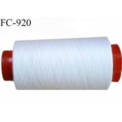Cone 1000 m fil Polyester n° 80 couleur blanc  longueur 1000 mètres fil européen bobiné en France certifié oeko tex