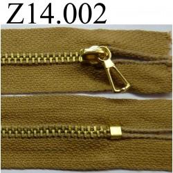 fermeture éclair longueur 14 cm couleur marron caramel non séparable zip métal largeur 2.5 cm