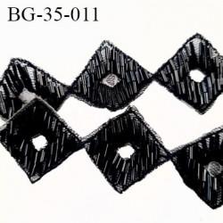 Galon 35 mm Décor ornement  strass sequins couleur noir brillant hauteur 35 mm prix au mètre