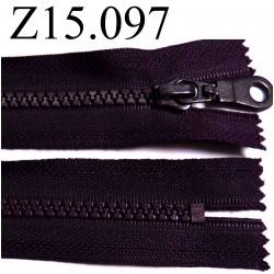 fermeture éclair longueur 15 cm couleur violet foncé prune  non séparable zip nylon largeur 3.3 cm largeur du zip 5 mm