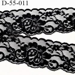 Dentelle noir 55 mm synthétique lycra élastique extensible couleur noir  motif fleur largeur 55 mm prix au mètre