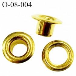 Oeillet métal couleur doré diamètre extérieur 8 mm diamètre intérieur 4 mm hauteur 5.2 mm prix rondelle + oeillet