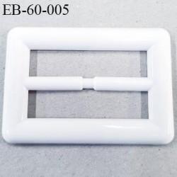 Boucle 60 mm rectangle pvc  blanc brillant  largeur extérieur 85 mm largeur intérieur  60 mm épaisseur 5.5 mm hauteur 60 mm