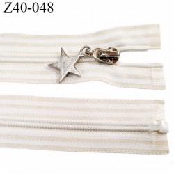 fermeture zip à glissière longueur 40 cm  largeur 3.2 cm couleur blanc et beige séparable zip nylon  largeur du zip 6 mm