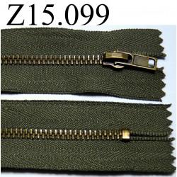 fermeture éclair verte longueur 15 cm couleur vert kaki non séparable  zip métal largeur 3 cm