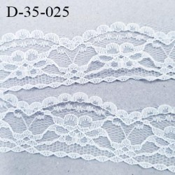 Dentelle 35 mm synthétique largeur 35 mm couleur blanc motif fleurs largeur 35 mm  prix au mètre