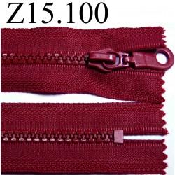 fermeture éclair longueur 15 cm couleur rouge bordeau  non séparable zip nylon largeur 3.3 cm largeur du zip 5 mm