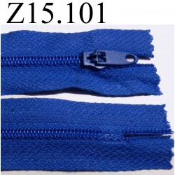 fermeture longueur 15 cm couleur bleu non séparable zip nylon largeur 2.4 cm