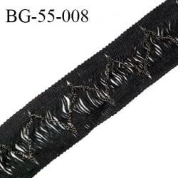 Galon frange 55 mm couleur noir avec chainette couleur acier largeur 55 mm prix au mètre
