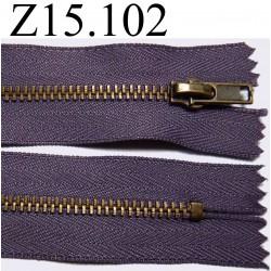 fermeture éclair longueur 15 cm couleur parme non séparable zip métal largeur 2.8 cm