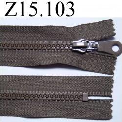 fermeture éclair longueur 15 cm couleur marron kaki non séparable zip nylon largeur 3.3 cm largeur du zip 5 mm