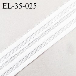 Elastique 35 mm haut de gamme couleur blanc bonne élasticité allongement +130% fabriqué en France prix au mètre