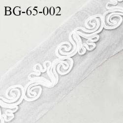 Galon ruban 65 mm broderie sur tulle blanc largeur 65 mm prix au mètre