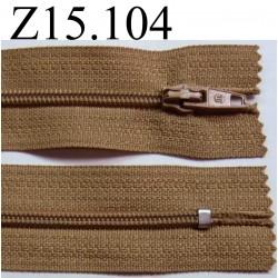 fermeture éclair longueur 15 cm couleur marron clair non séparable zip nylon largeur 2.6 cm