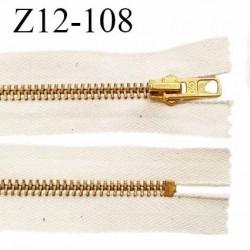 Fermeture zip 12 cm couleur beige chiné longueur 12 cm largeur 3.4 cm non séparable glissière métal couleur doré prix à l'unité