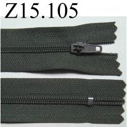 fermeture éclair longueur 15 cm couleur gris non séparable zip nylon largeur 2.7 cm