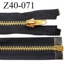Fermeture 40 cm couleur noir séparable zip glissière en métal couleur doré prix à l'unité