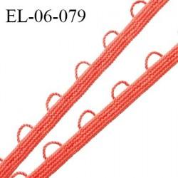 Elastique boutonnière picot 6 mm spécial lingerie haut de gamme couleur corail fabriqué en France largeur 6 mm prix au mètre