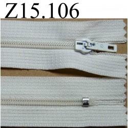 fermeture éclair blanche longueur 15 cm couleur blanc non séparable zip nylon largeur 2.5 cm