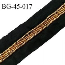 Galon ruban 45 mm perles couleur doré sur tissu noir largeur 45 mm prix au mètre