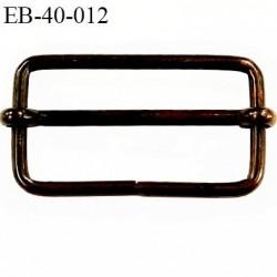 Boucle rectangle coulissante 40 mm métal couleur laiton foncé vieilli largeur extérieur 4.6 cm intér 4 cm hauteur extér 2.3 cm