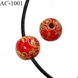 Perle en bois naturel vernis diamètre 12 mm pour cordon de 2 mm de diamètre vendu à l'unité