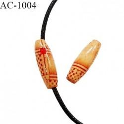 Perle en bois naturel vernis longueur 23 mm largeur 7 mm pour cordon de 2 mm de diamètre vendu à l'unité