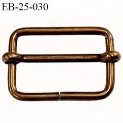 Boucle rectangle 25 mm coulissant métal couleur laiton clair largeur extérieur 3 cm largeur intérieur 2.5 cm hauteur 2.1 cm