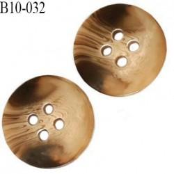 Bouton 10 mm couleur marbré beige et marron 4 trous diamètre 10 mm épaisseur 2 mm prix à l'unité