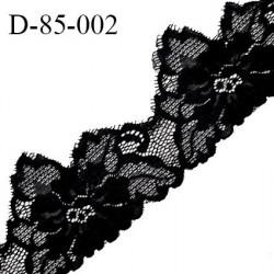 Dentelle 85 mm en lycra extensible couleur noir largeur 85 mm prix au mètre