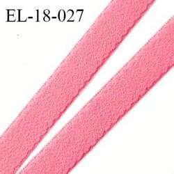 Elastique lingerie 18 mm haut de gamme couleur rose corail une face style velours fabriqué en France prix au mètre
